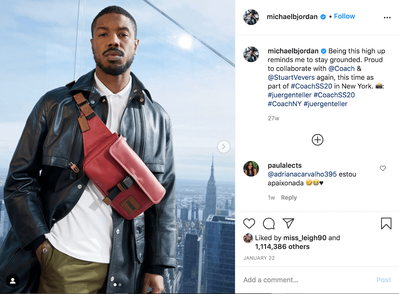 Michael B Jordan Coach Instagram Post