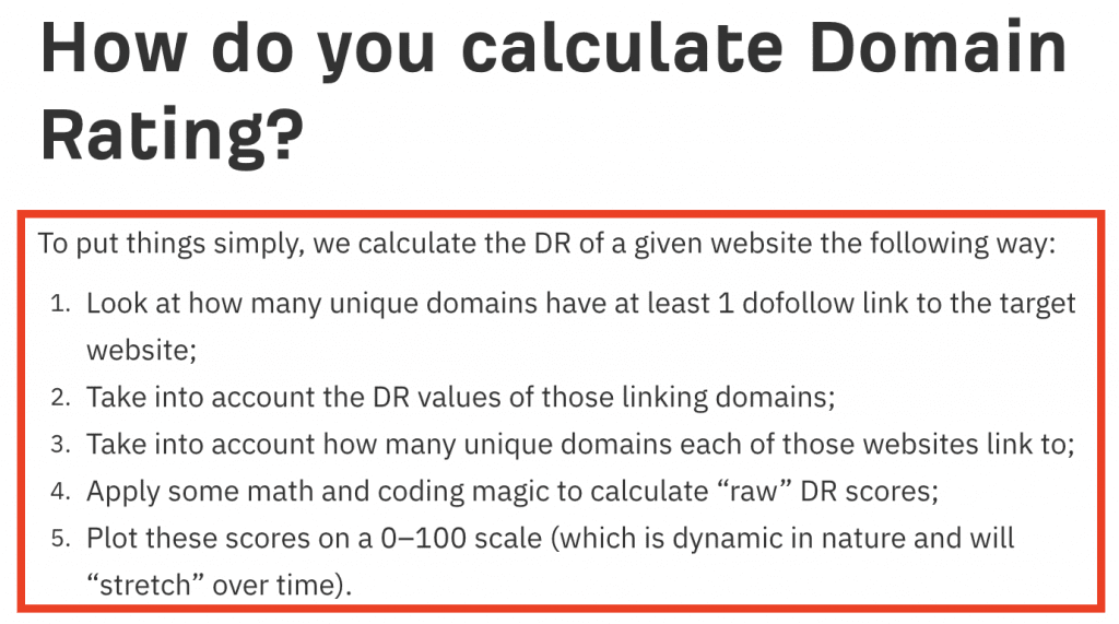 Steps to calculate domain rating
