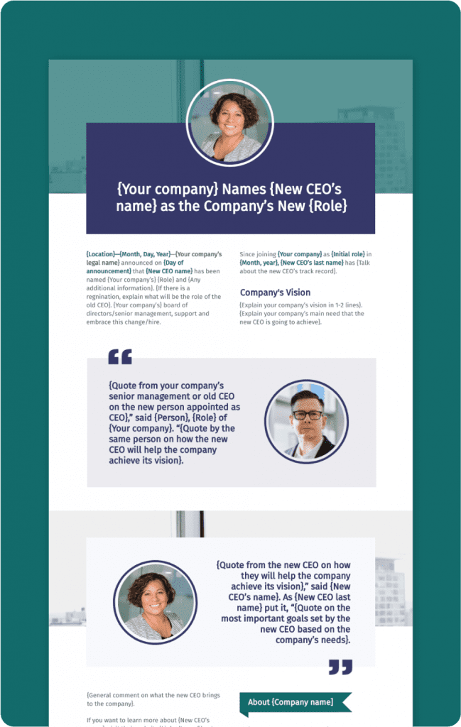 New CEO Press Release Preview