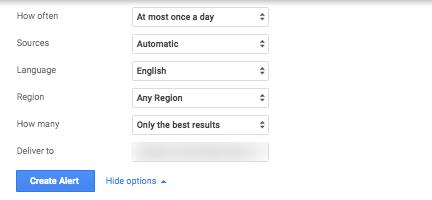 Options for Google Alerts