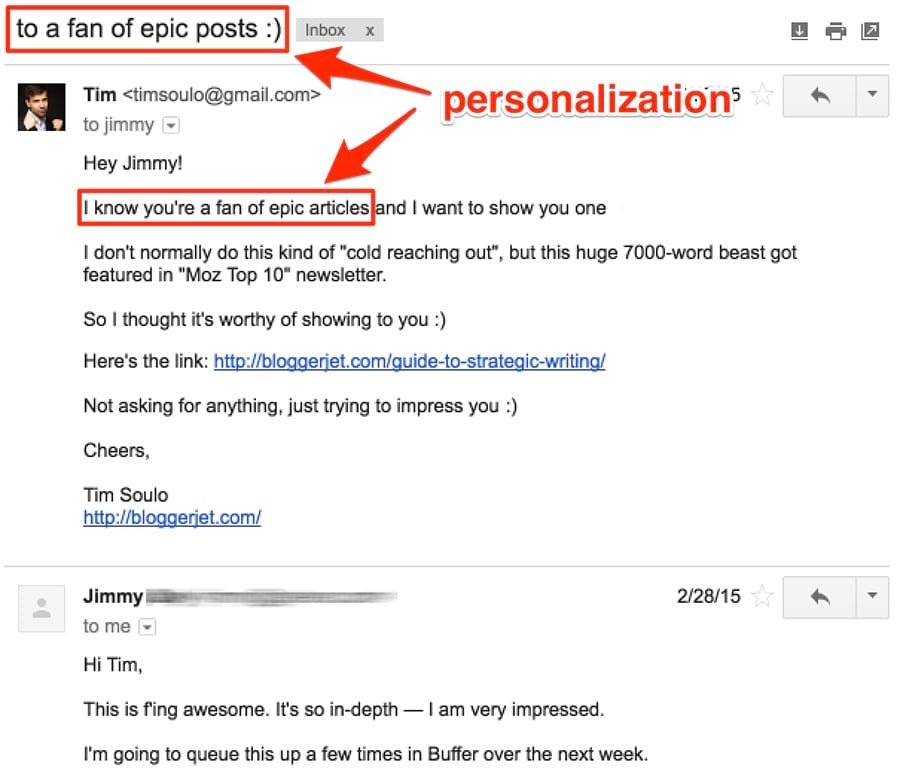 Outreach Personalization by Tim Soulo