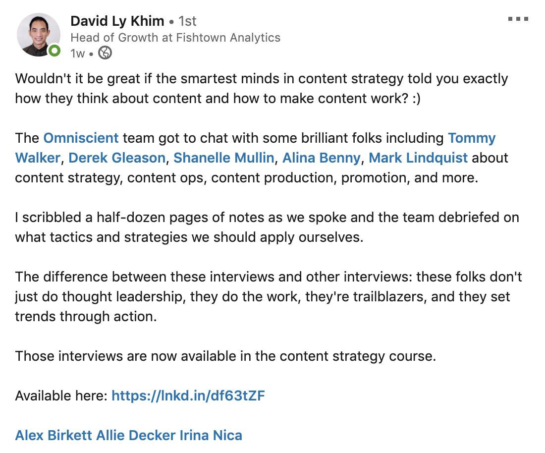 David Khim linkedIn post