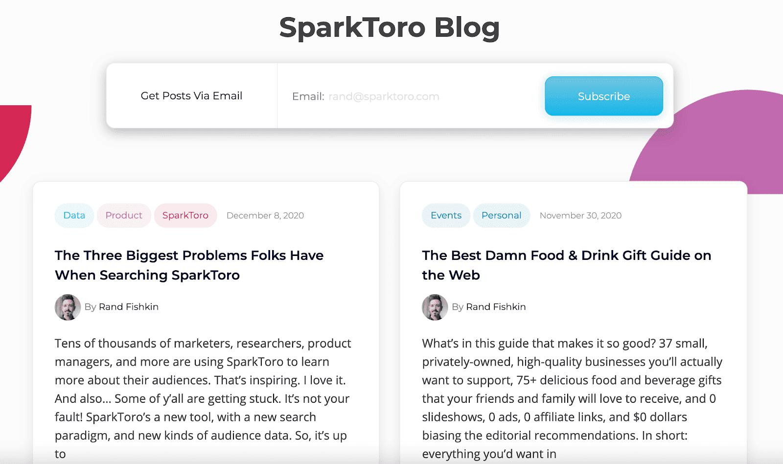 SparkToro blog page