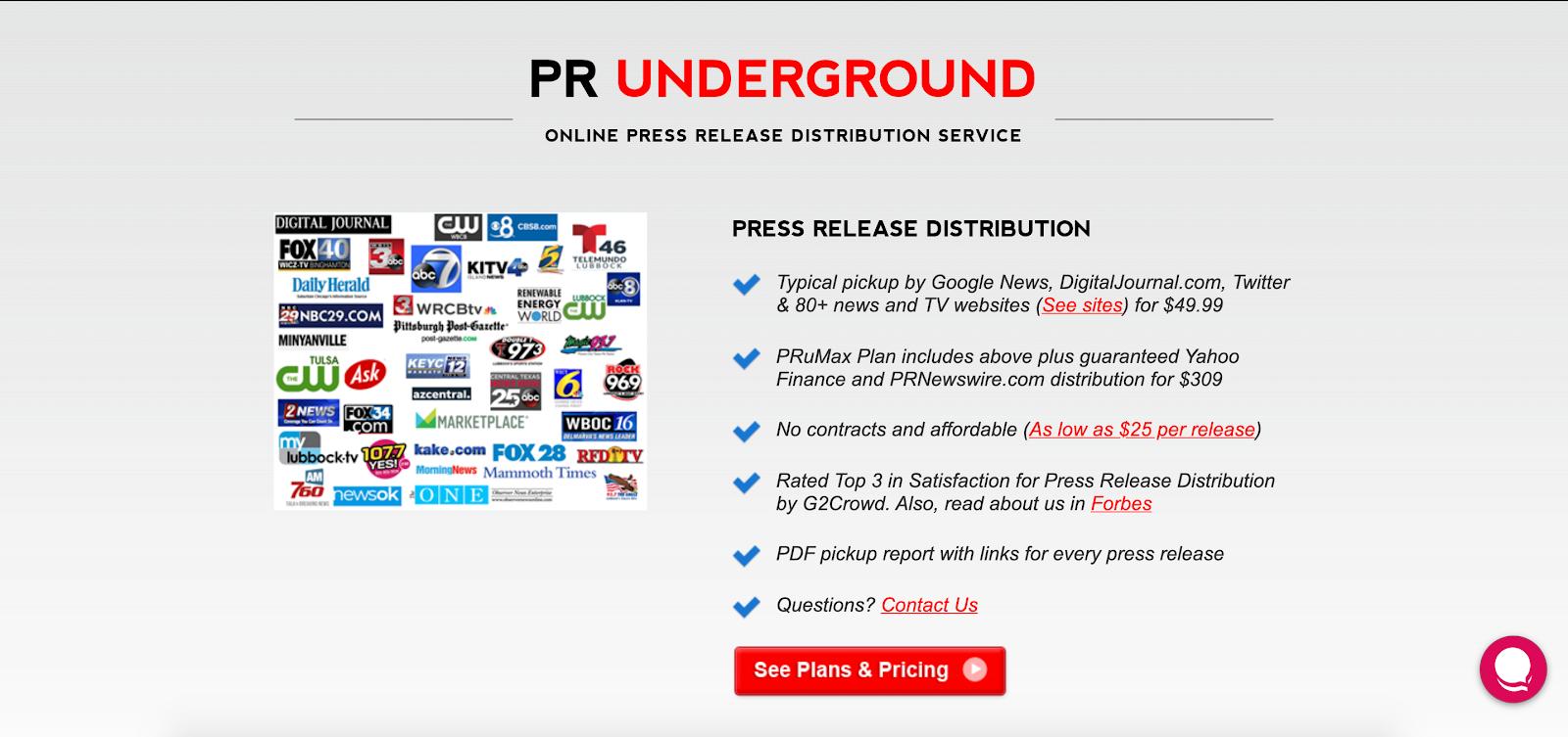 PR Underground Homepage