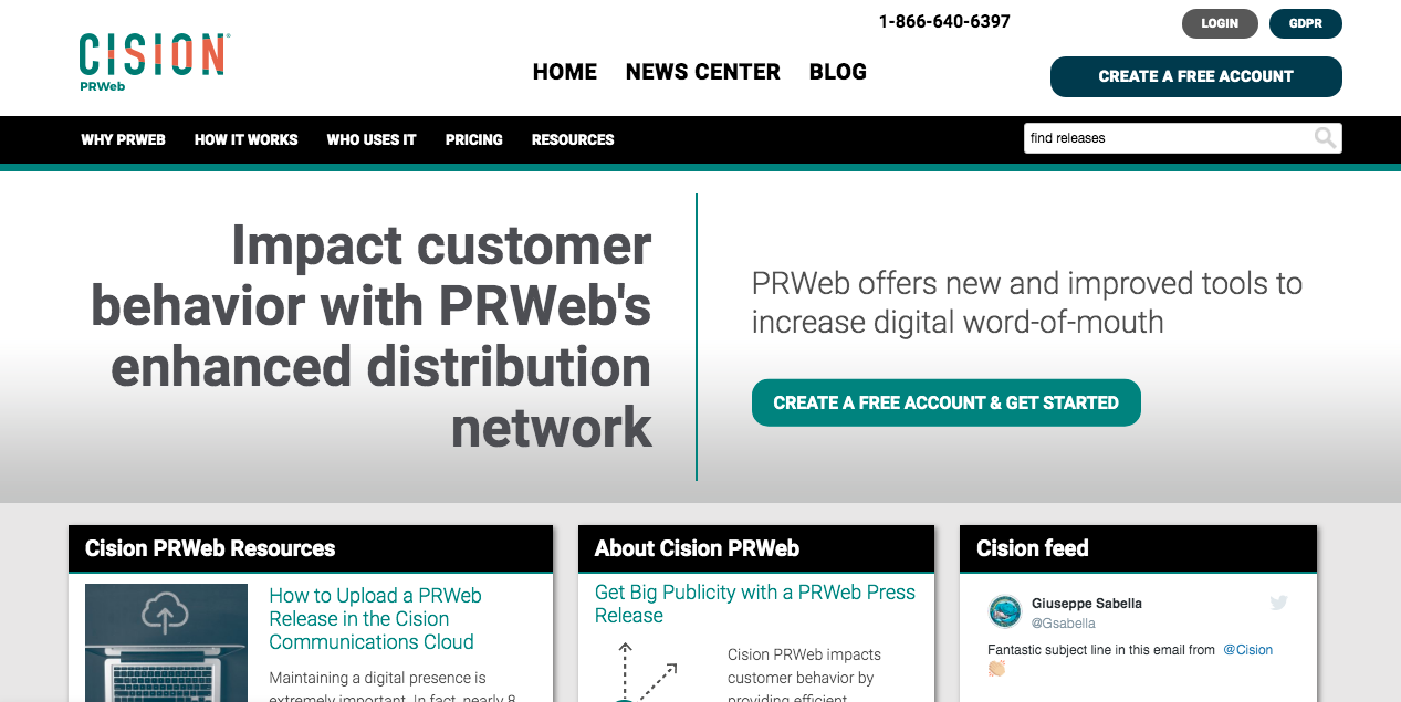 PRWeb Home Page