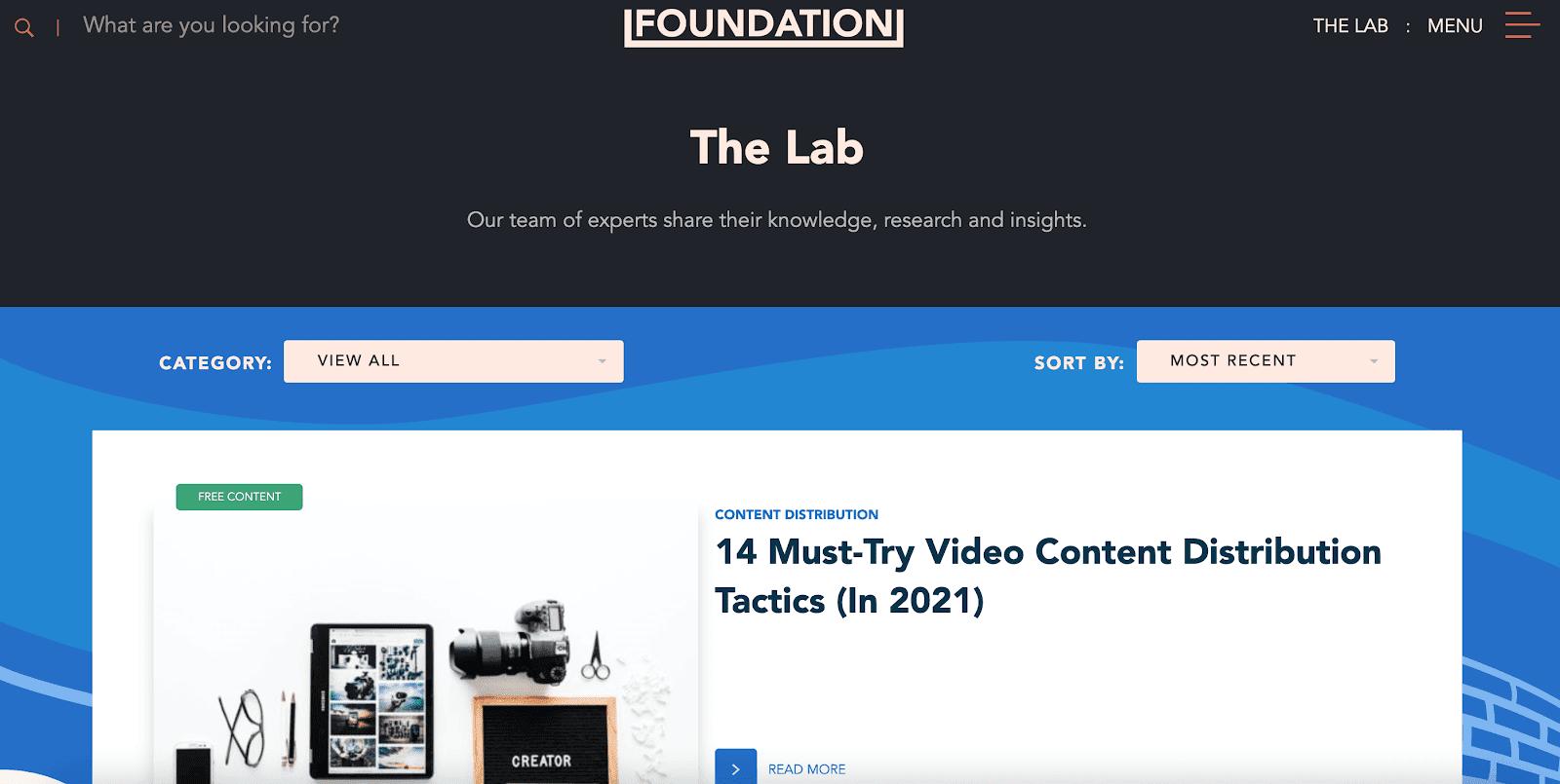 Foundation blog page
