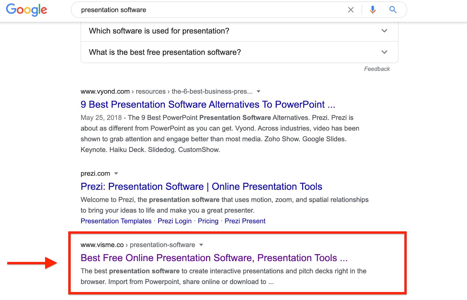 Presentation Software Google Results Visme