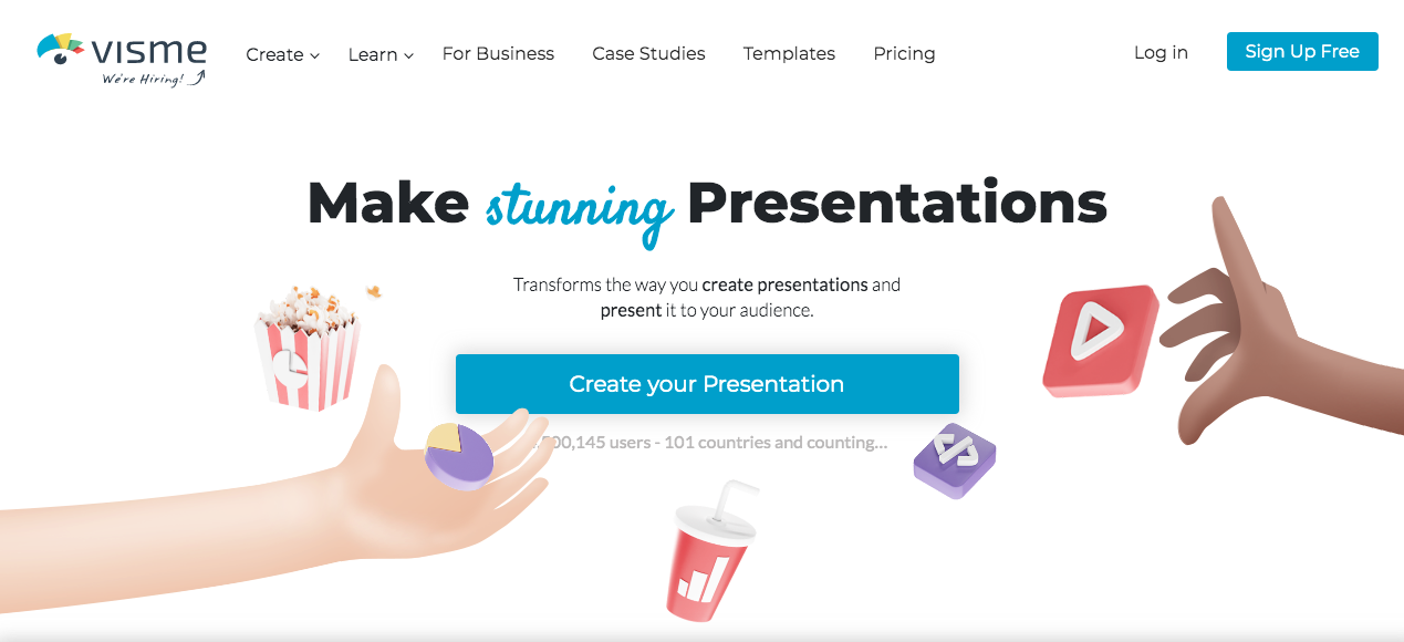 Presentation Software Landing Page by Visme