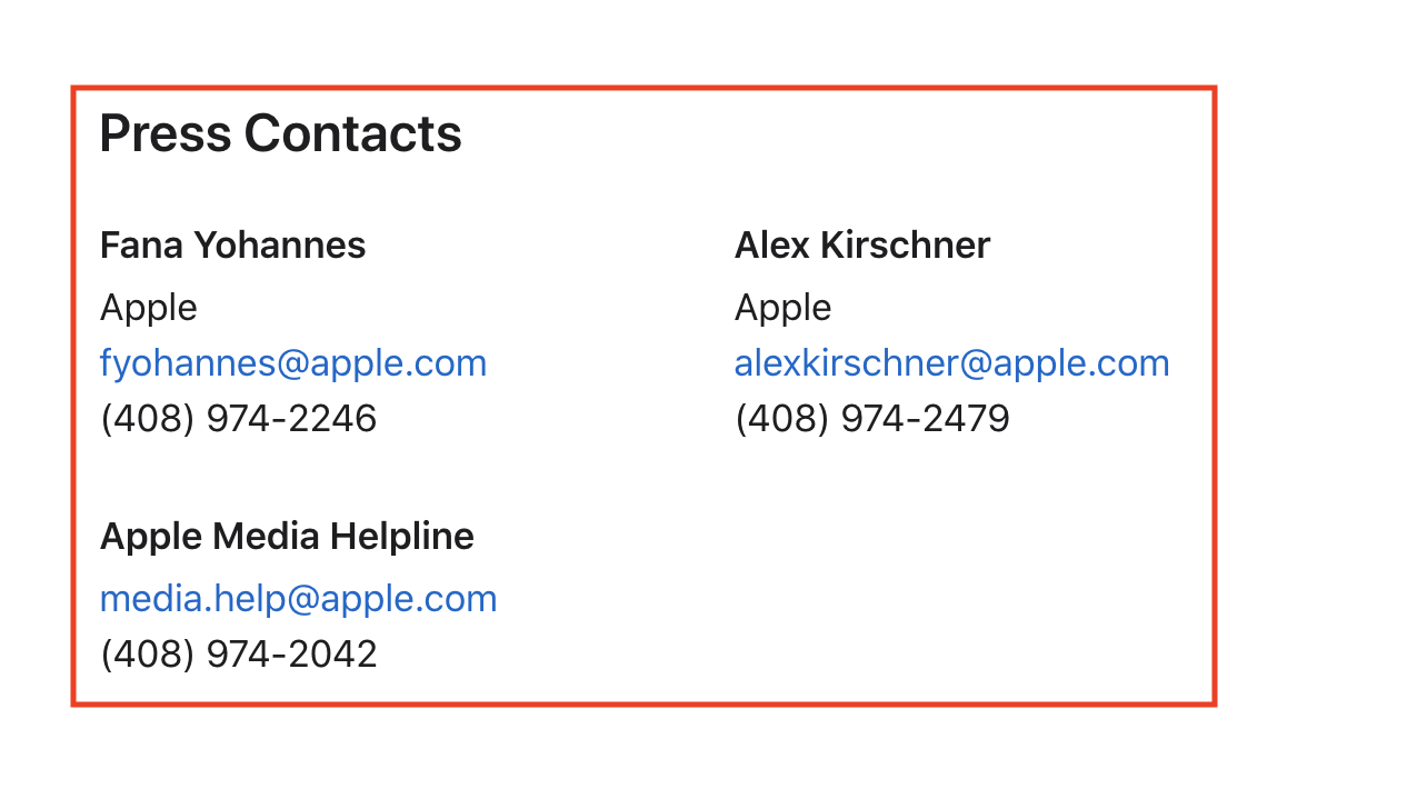 Press Contacts From Apple Press Release