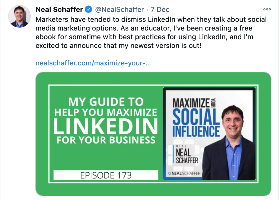 Twitter post about Neal Schaffer's podcast 2