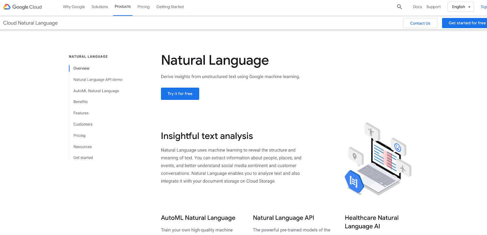 Google Natural Language home page