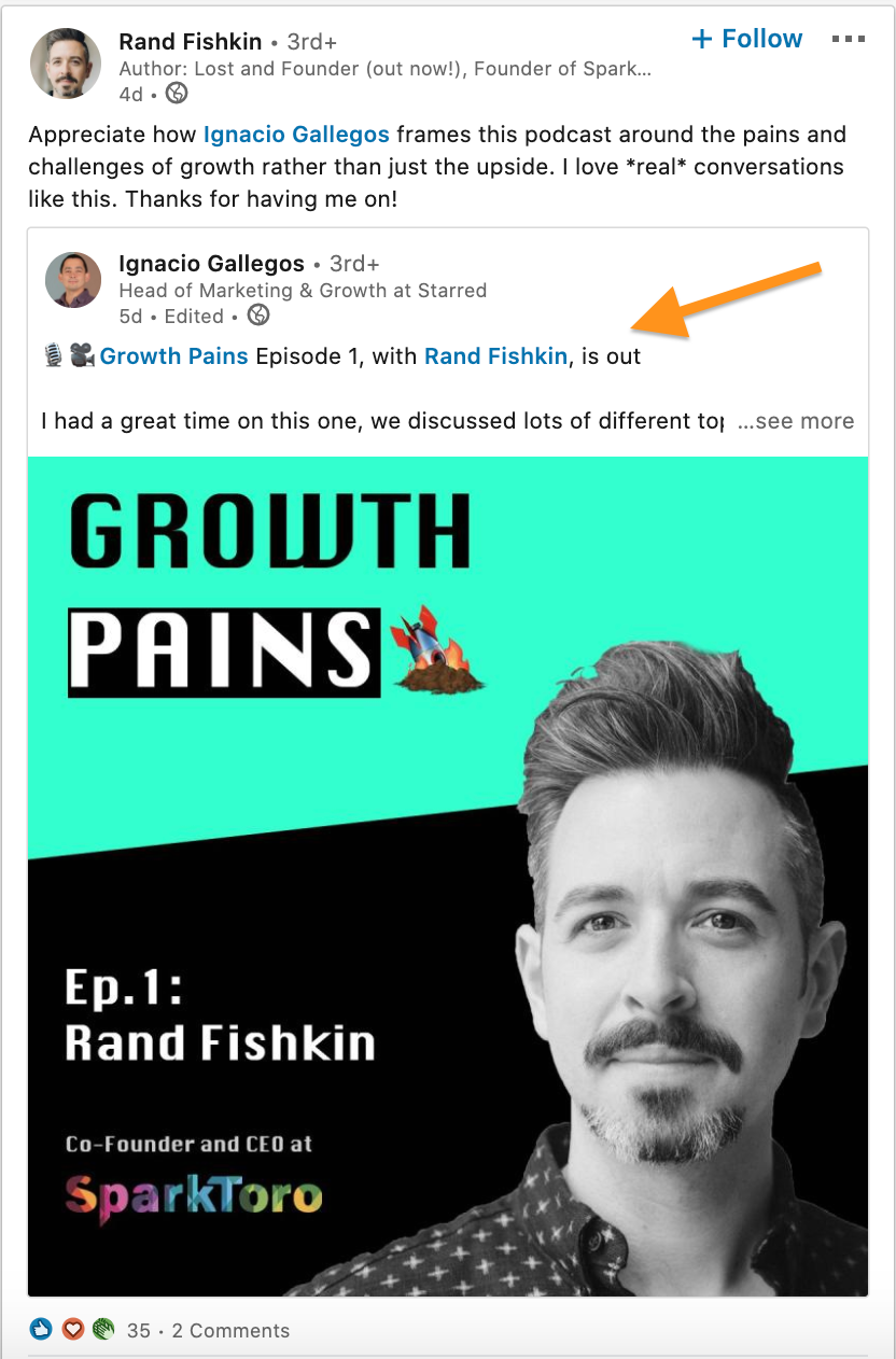 Rand Fishkin Linkedin Podcast Post 2