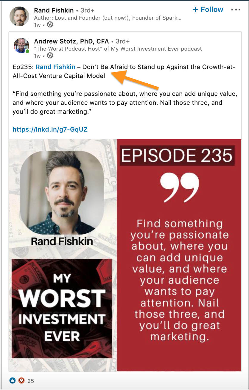 Rand Fishkin Linkedin Podcast Post for lead generation