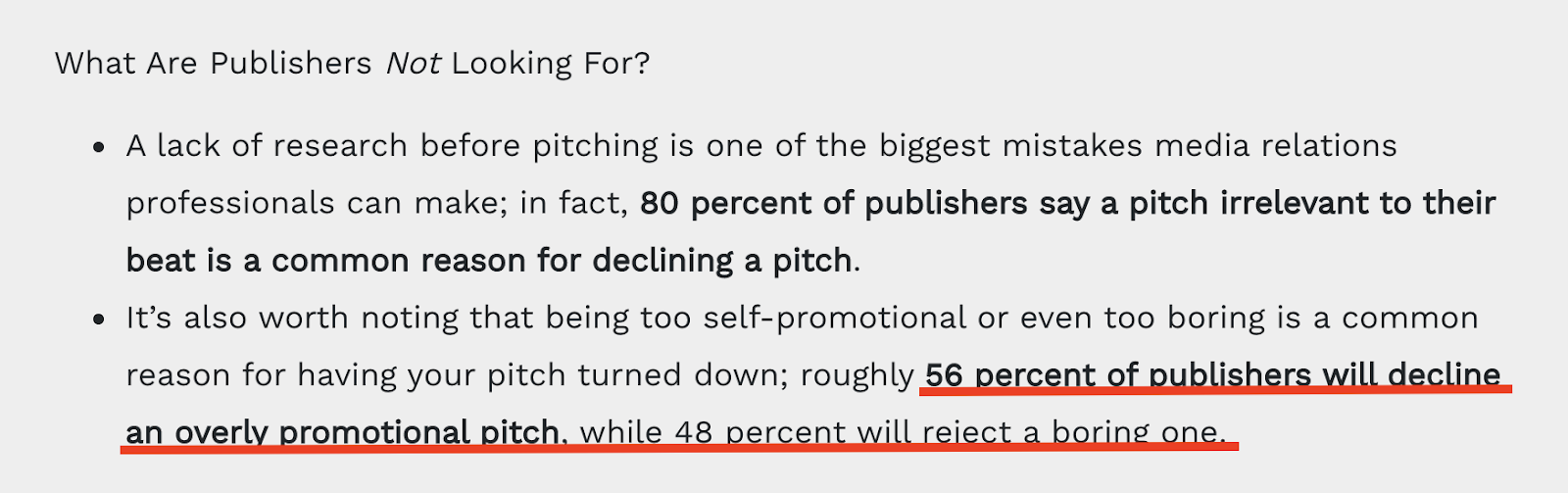 Reason to Decline a Pitch