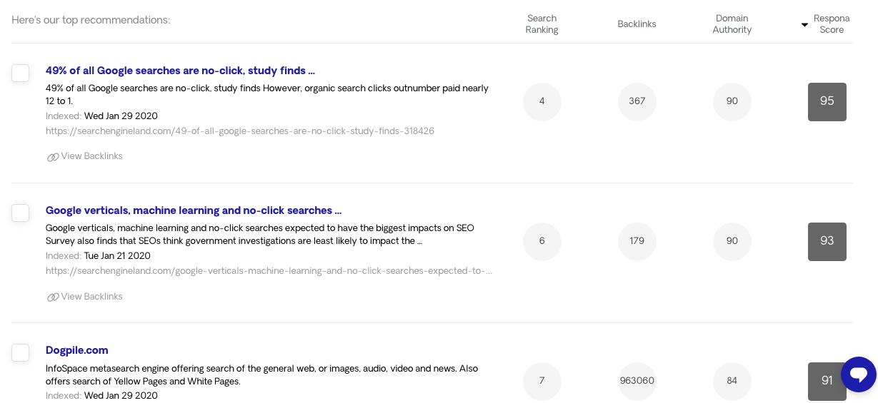 Respona Search Results 1