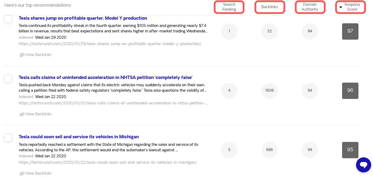 Respona Search Results 2