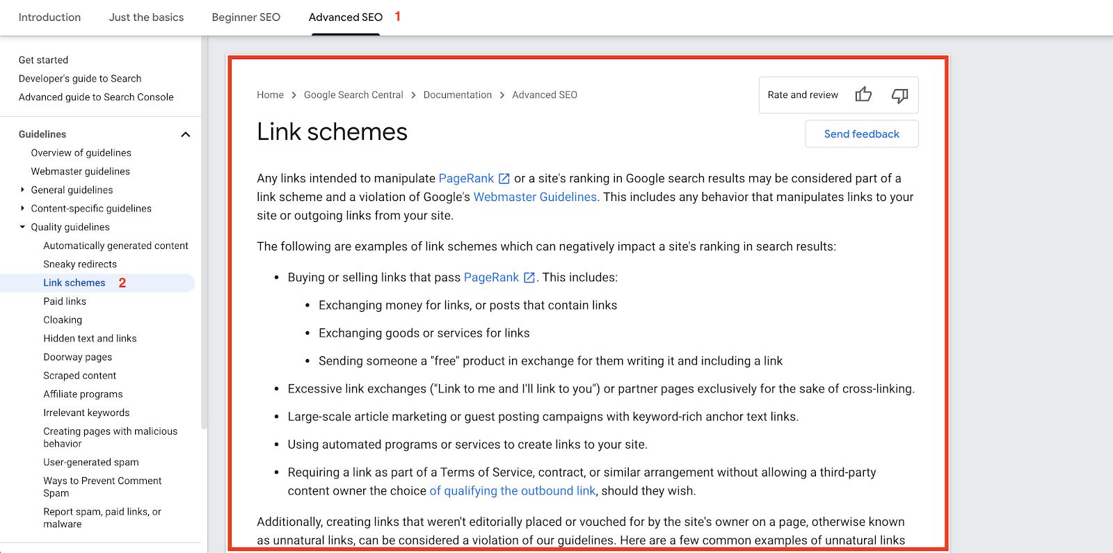 Google link violation terms