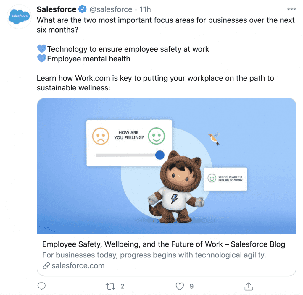 Salesforce Twitter post