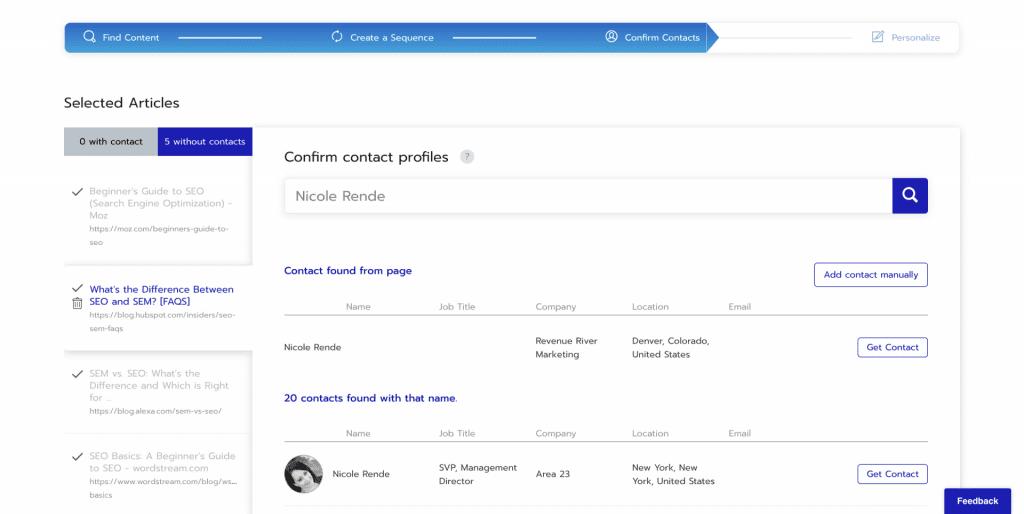 Respona - Confirm Contacts screenshot