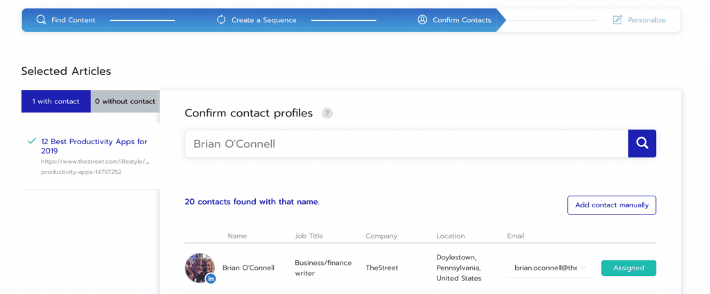 Respona contact search results to get the email addresses of journalists.