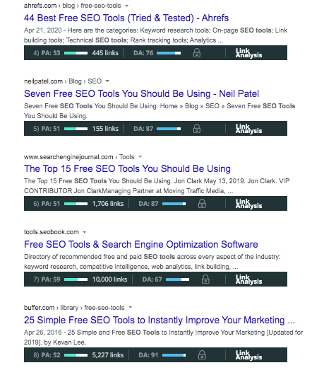 Search Results with MozBar