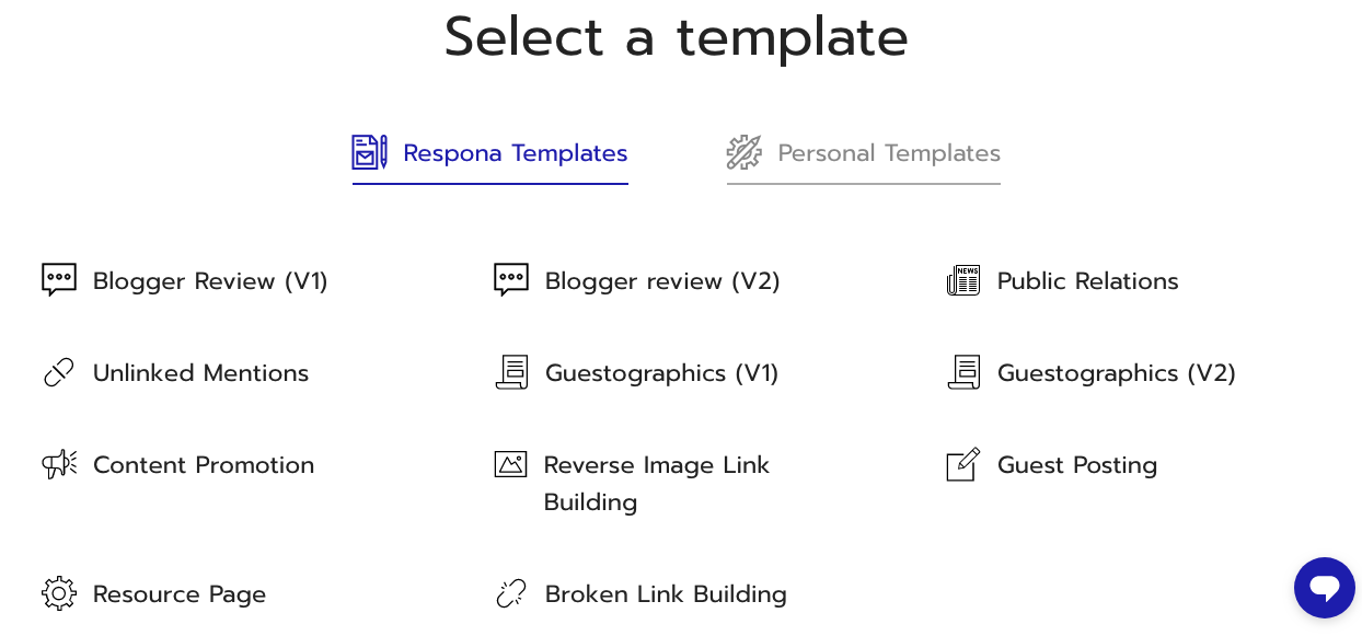 Selecting a Template on Respona UI