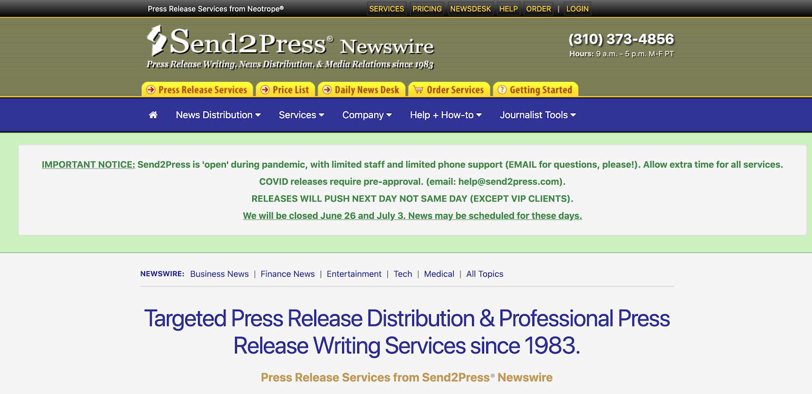 Send2press Homepage