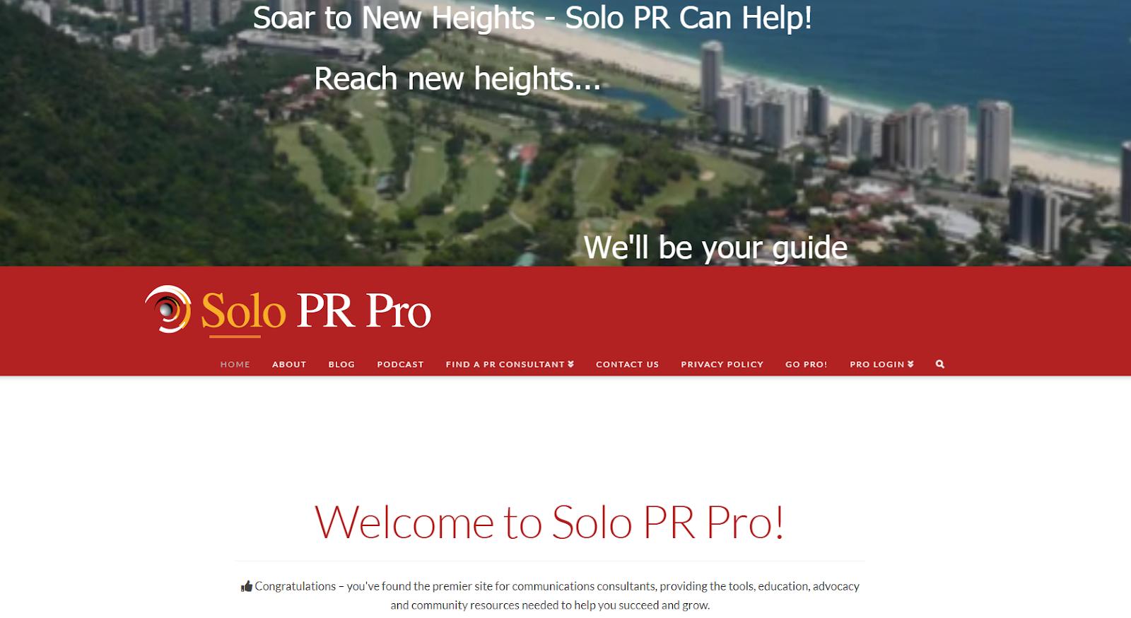 Solo PR Pro Home Page