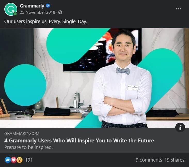 Grammarly Facebook post