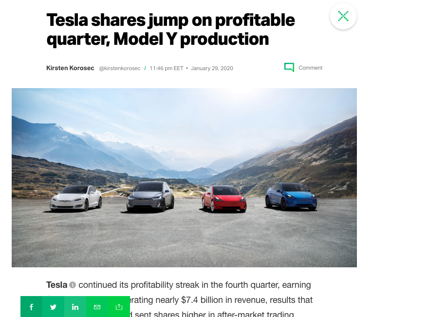 TechCrunch Article on Tesla
