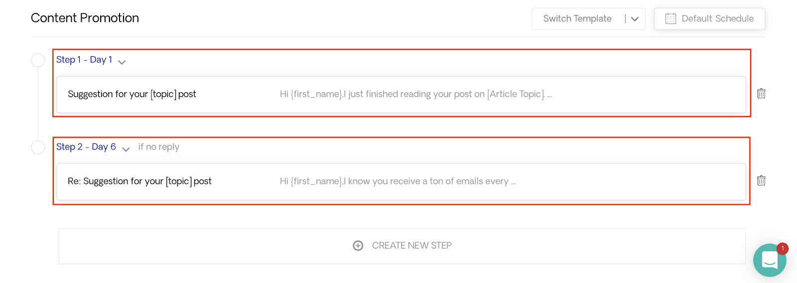 Two Emails in Template
