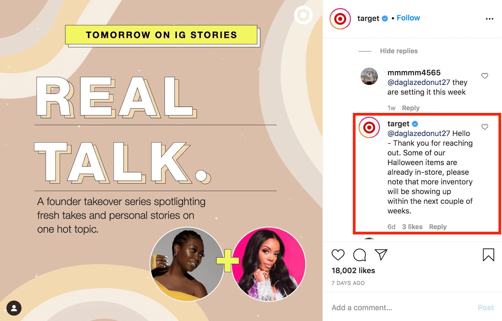 Social media comment response