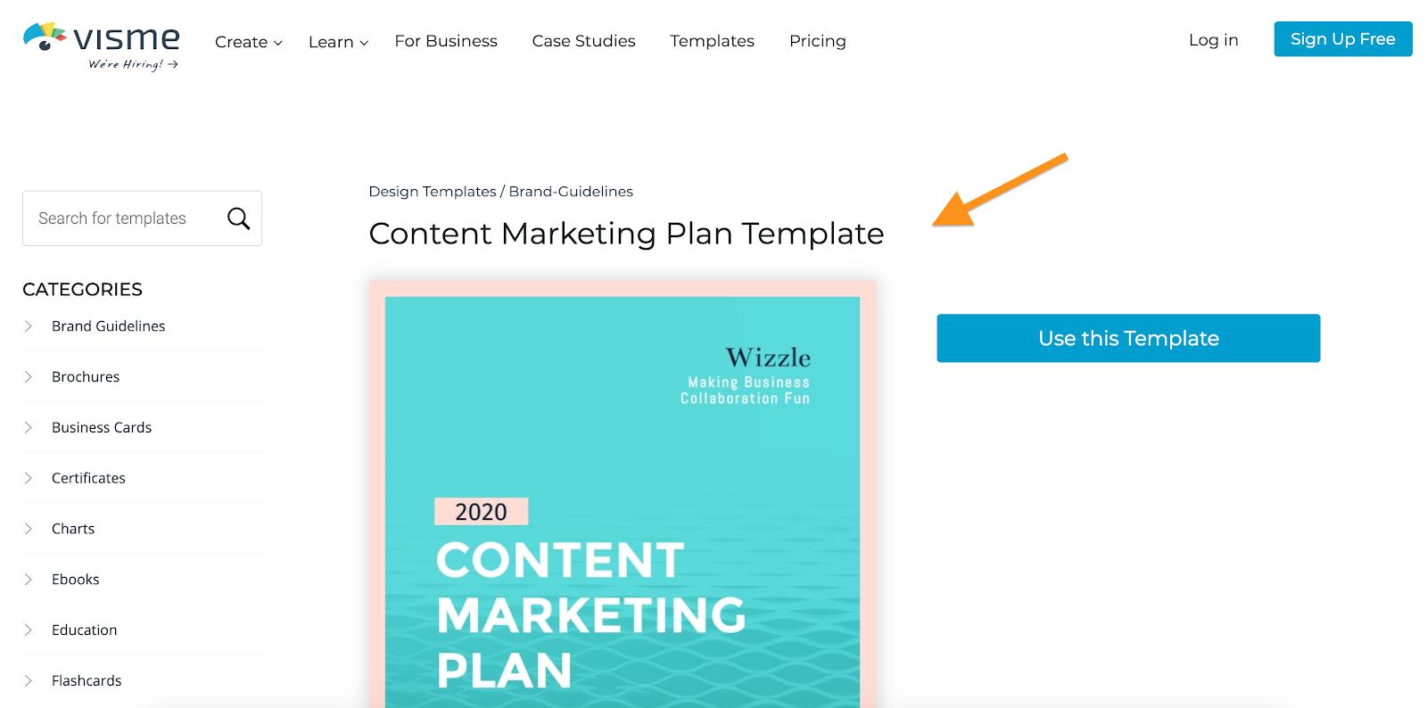 Visme Content Marketing Plan Template