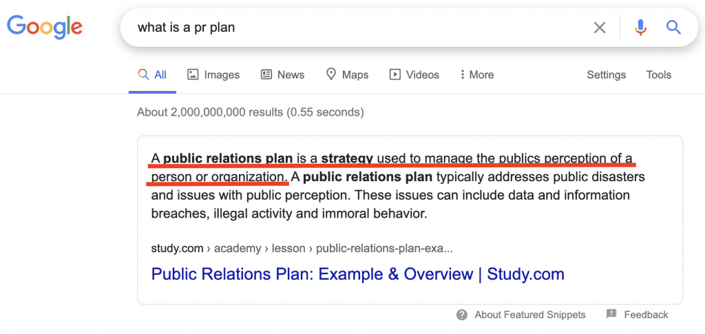 PR Plan definition