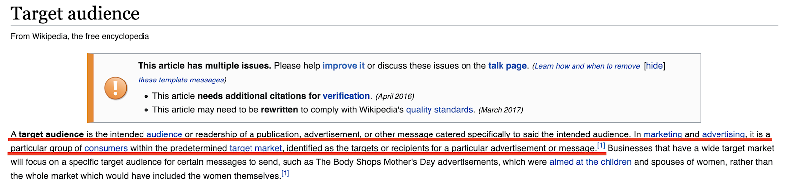 Wikipedia definition of a target audience