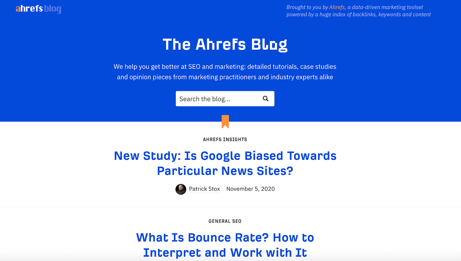 Ahrefs blog page