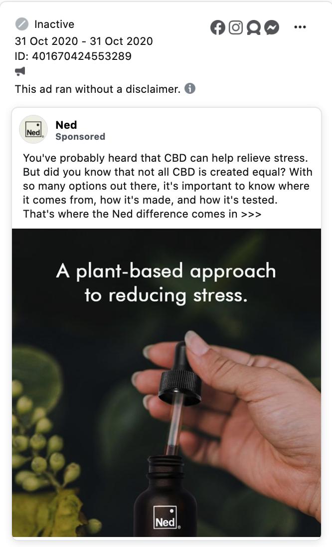 Inactive CBD Facebook ad 1
