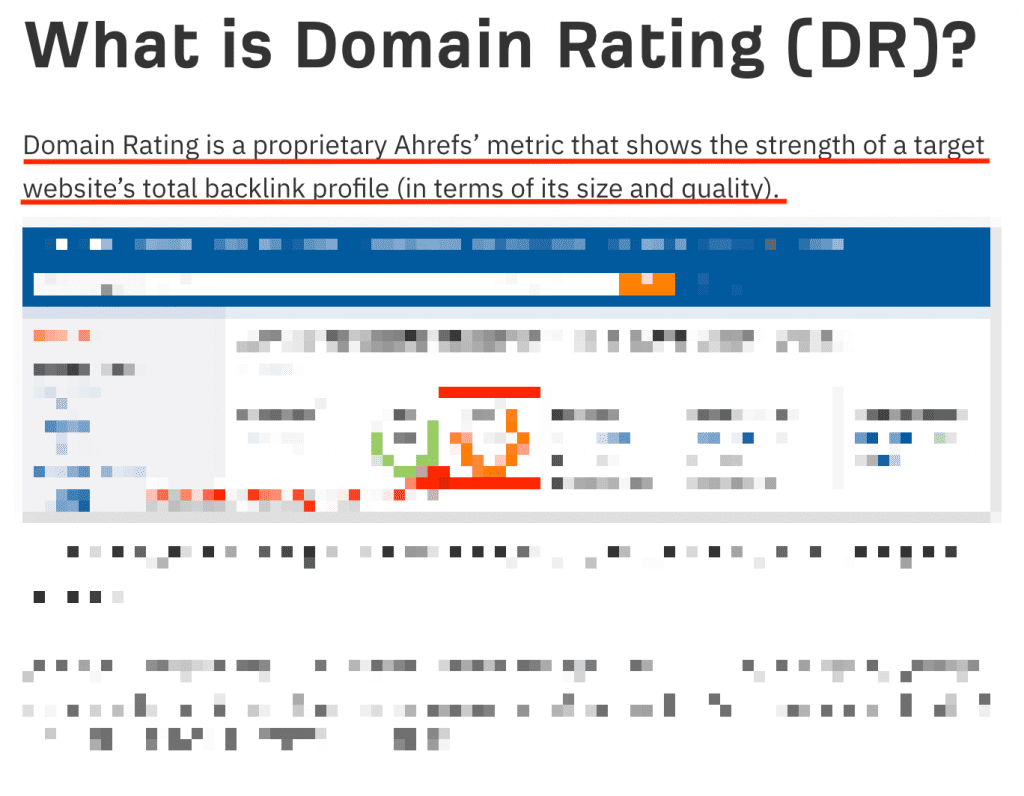 Ahrefs Domain rating definition