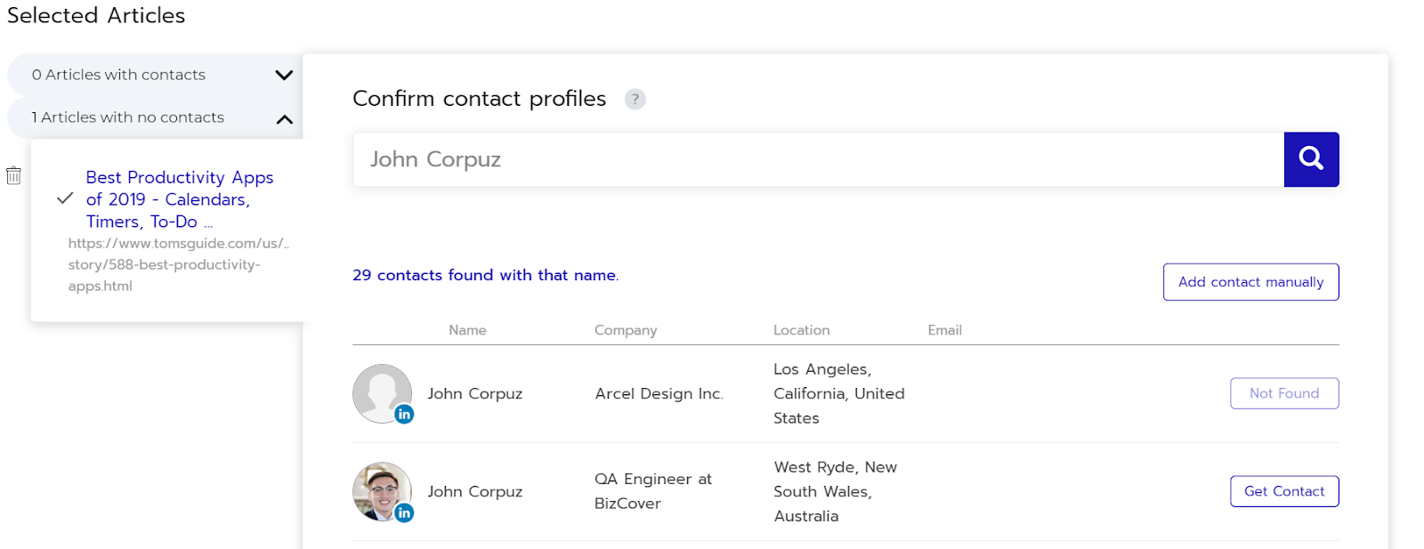 article automatic contacts