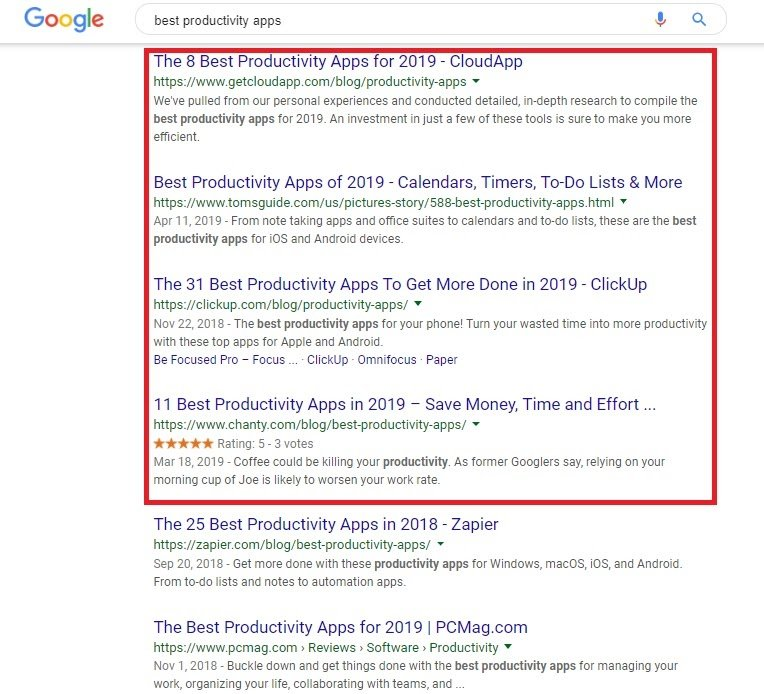 best productivity apps search