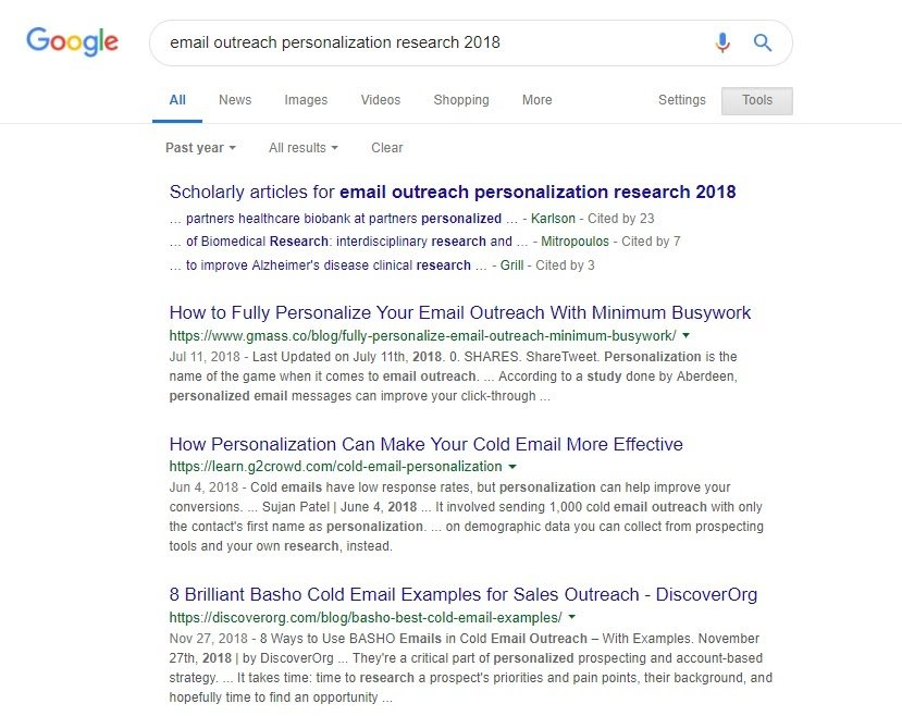 email outreach research 2018 search