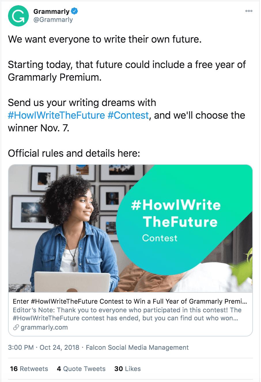 Grammarly Twitter post