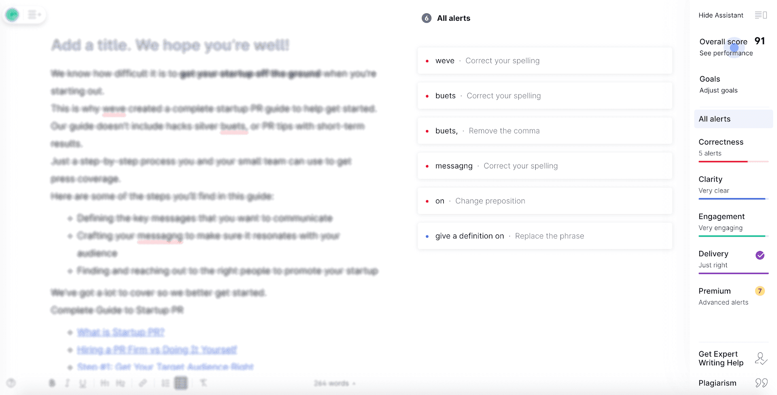 Grammarly features