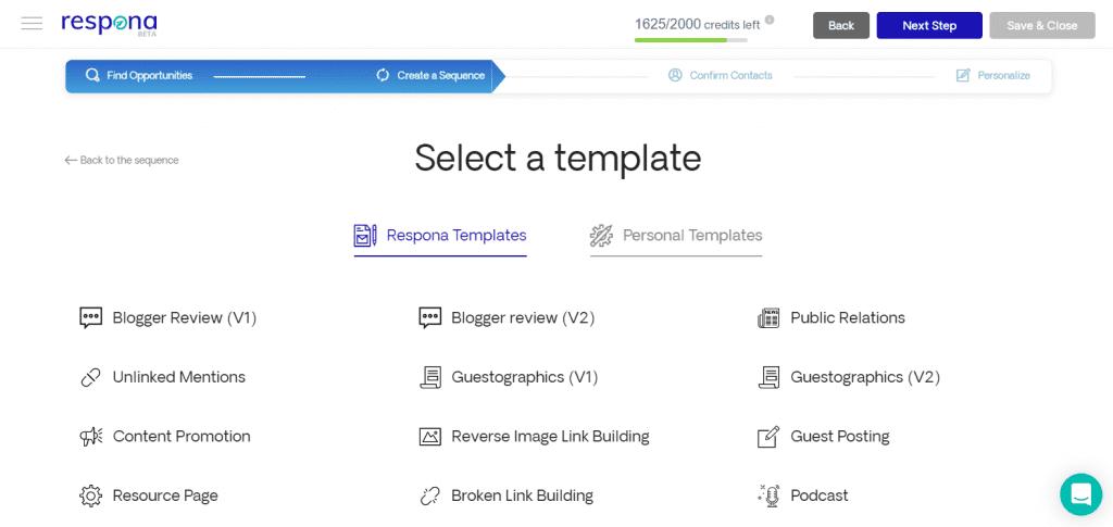 Respona template options