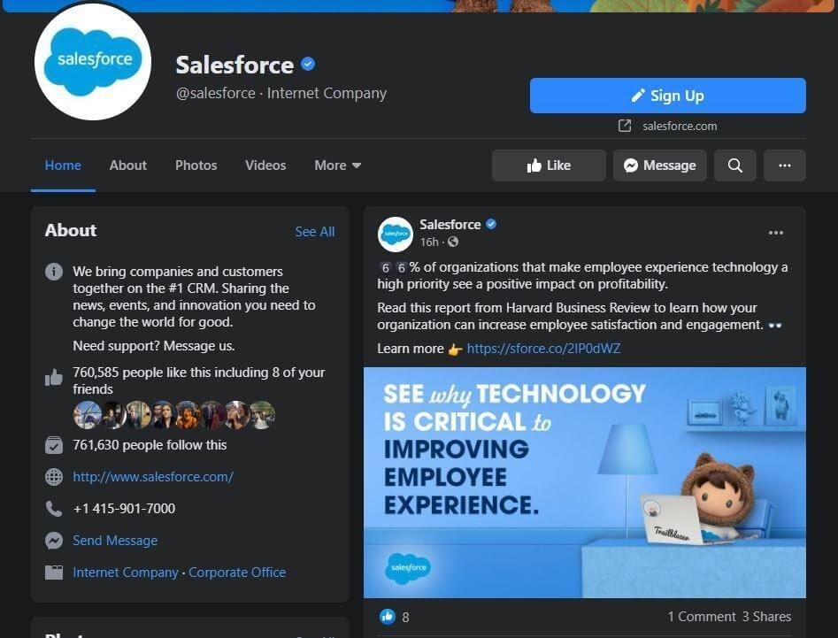 Salesforce's Facebook page