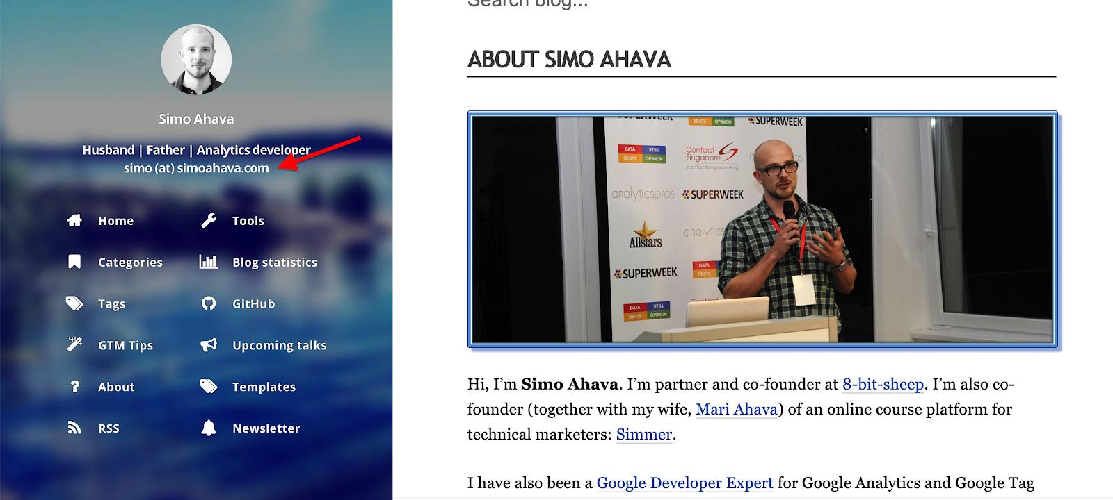 Simo Ahava contact information