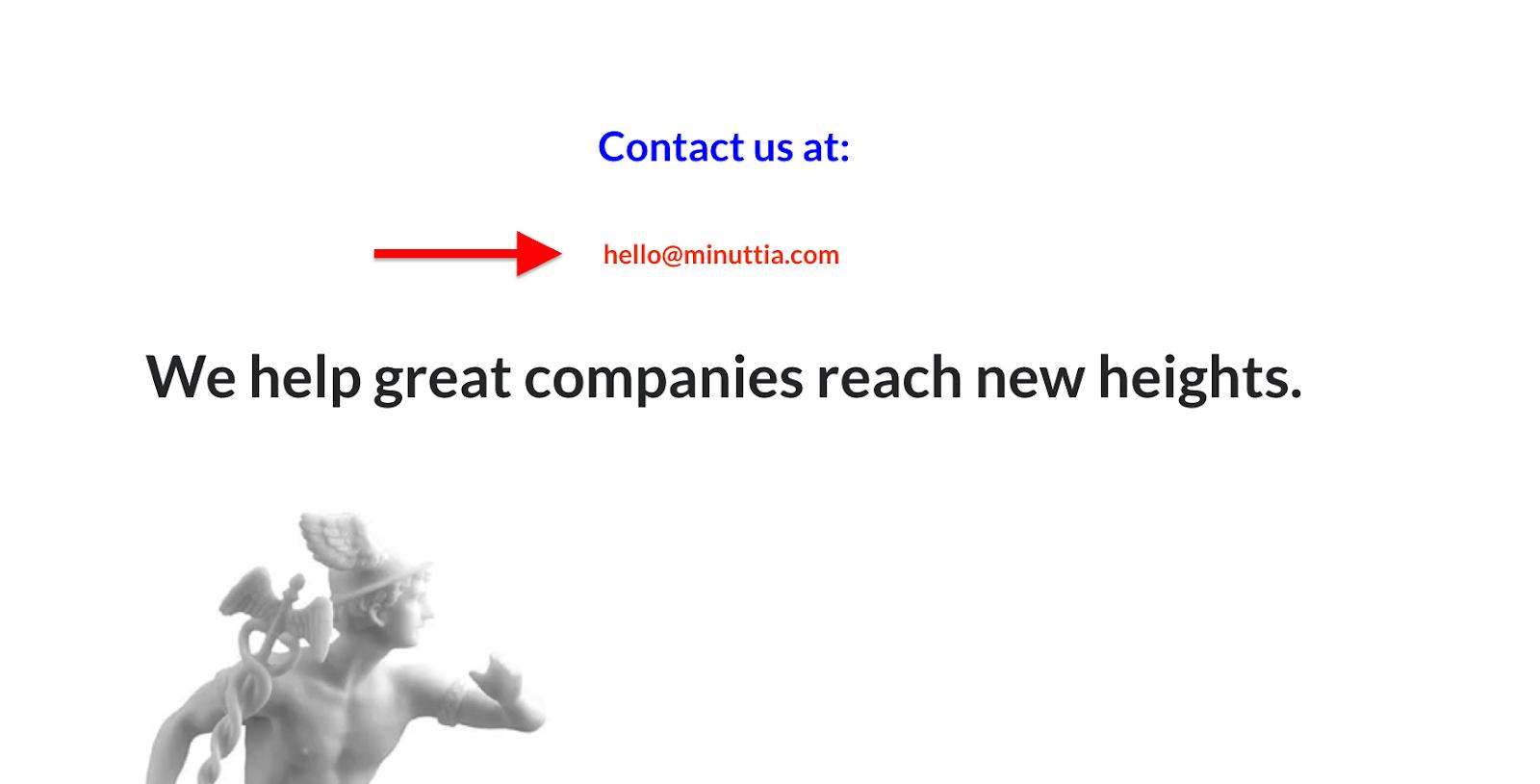 Minuttia contact page