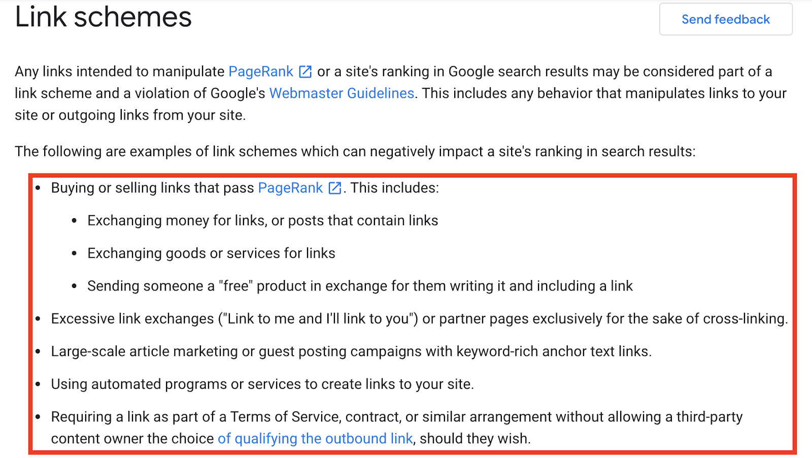 List of negative link schemes
