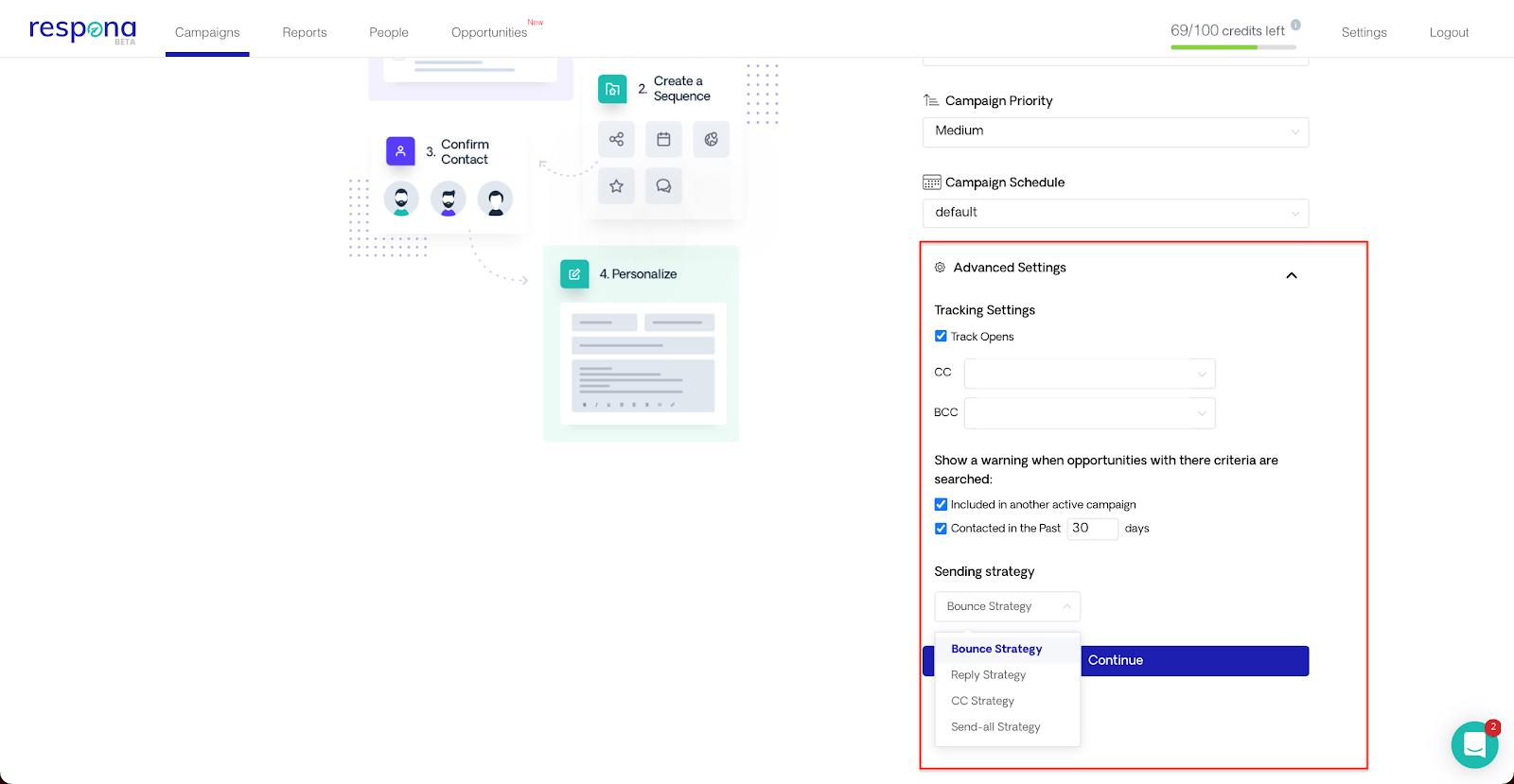 Selecting campaign advanced settings
