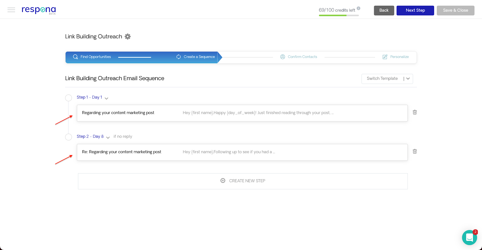 Email sequence steps